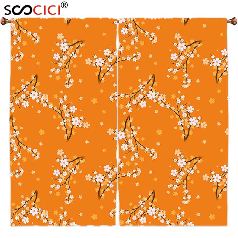 Window Curtains Treatments 2 Panels,Floral Blooming Cherry Tree Flowers on Branches Spring Season Nature Theme Pattern Orange