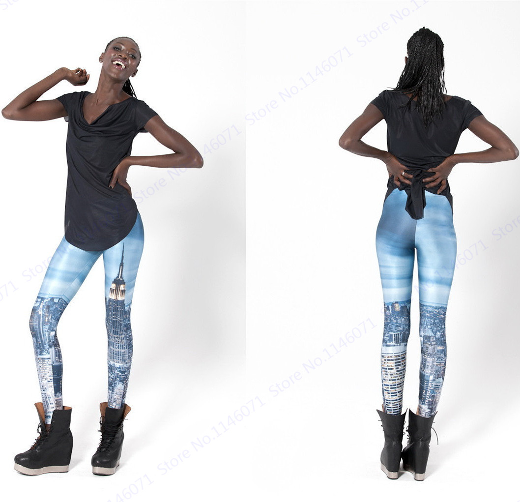New York City Night Stretchy Leggings High Waist Slim