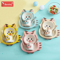5pc/lot Bamboo Raccoon Shape Cartoon Baby Feeding Dishes For Children Bowl For Kids Tableware Set Feeding For Baby T0396