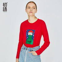 Toyouh Printed Christmas Tees For Women Long Sleeve T shirt O Neck Kawaii Tee Shirt Casual Solid Loose T Shirts Autumn Tops