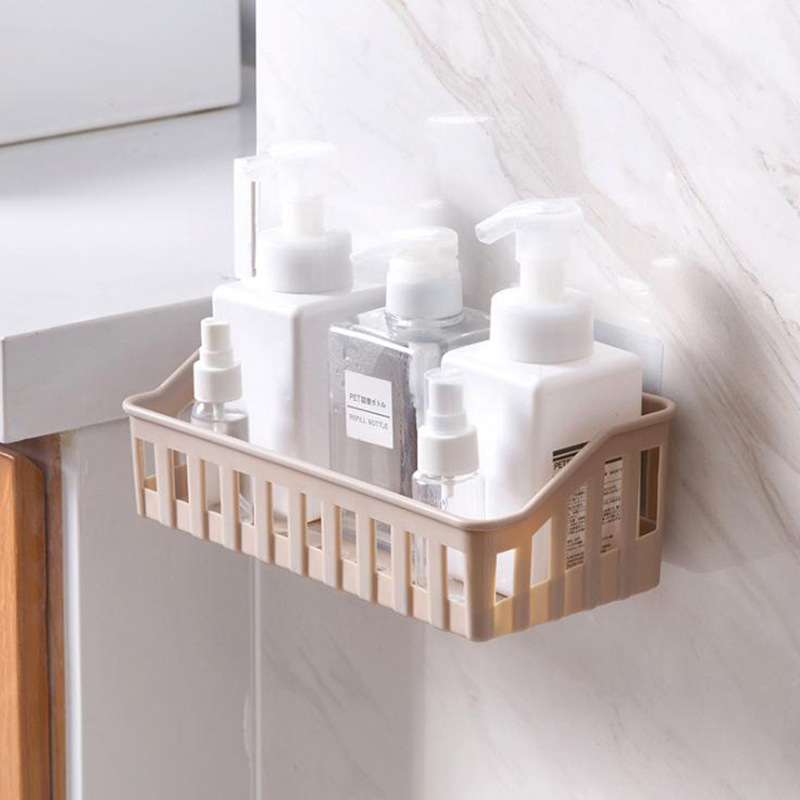 Bathroom Shelf Kitchen Storage Wall Holder Bathroom Wall Rack Dual Strong Suction Sucker Shower Rack Shelf