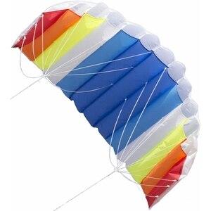 1,4 м двухрядный радужный узор парапланерный мягкий воздушный змей для детей уличный игровой комплект нейлоновый змей Плетеный