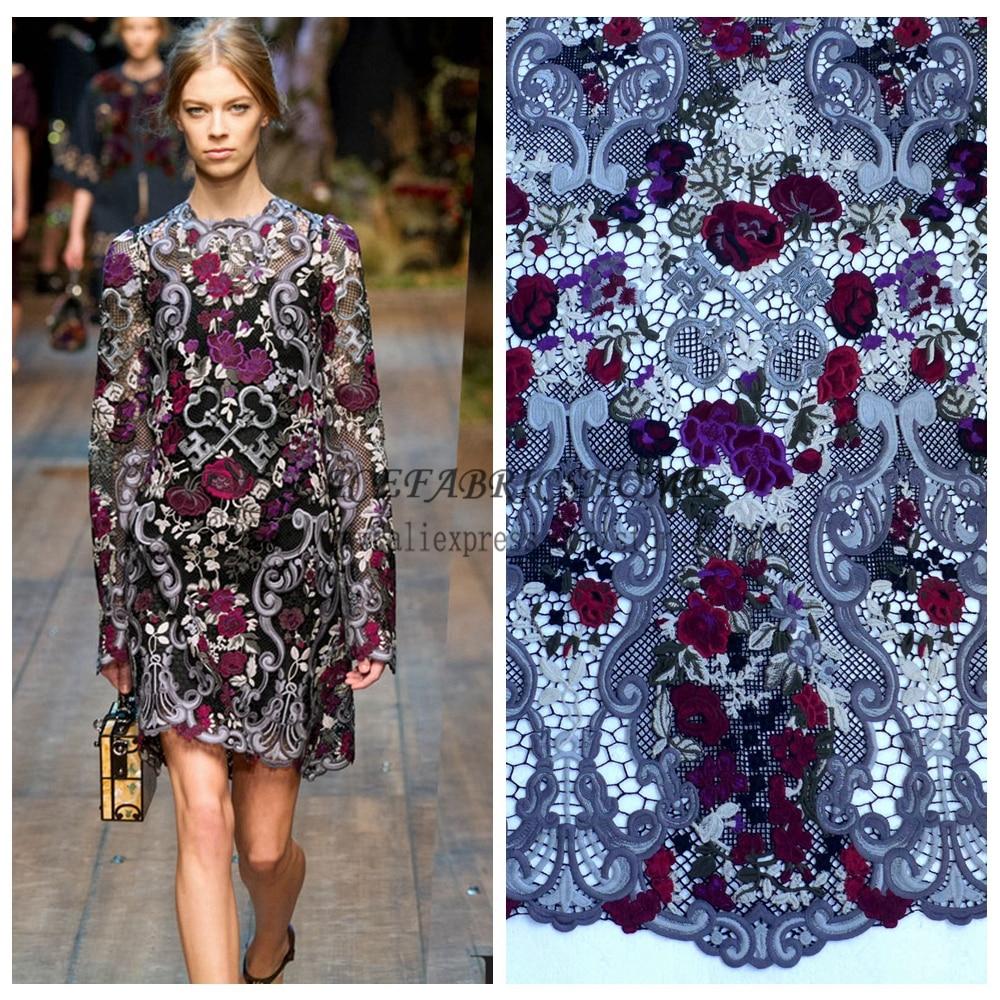 La belleza super zware wijn grijsgroen gemengde kleuren rayon geborduurde jurk kanten stof 39''breedte 1 yard