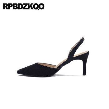 Size 33 2019 Medium Heels Summer Sandals Black 8cm Pointed Toe Suede Female Thin Slingback Orange Shoes Women Strap Pumps High