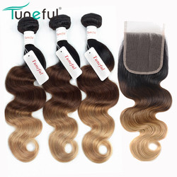 T1B/4/27# Honey Blonde Hair Bundles With Closure Tuneful Brazilian Body Wave Remy Human Hair Weft Ombre Bundles With Closure