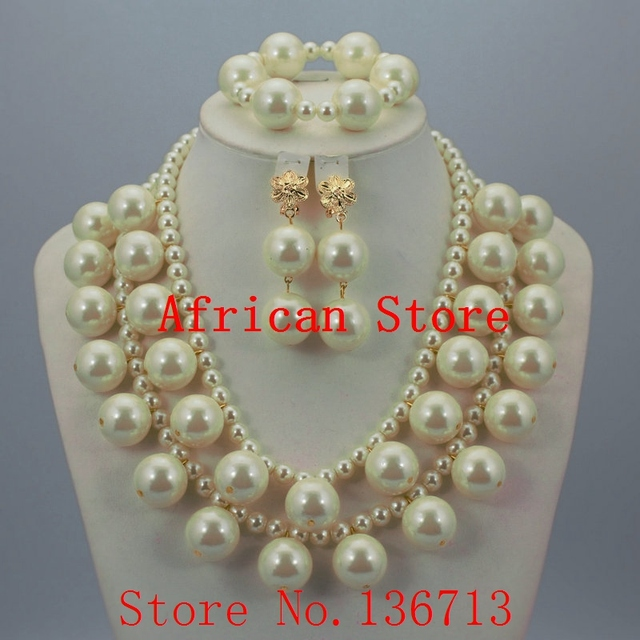 2016 Latest Champagne Gold Crystal Beads Necklace Set With Flower Earrings Jewelry African Costume Wedding