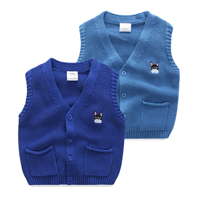 Baby boy embroidery Knitted sweater vest 2016 autumn winter children's clothing boy  V-neck sweater vest