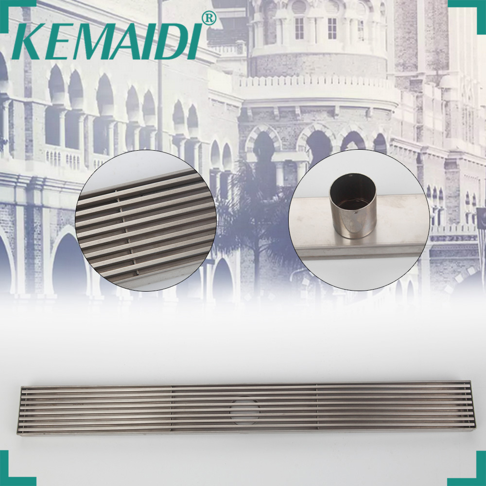 KEMAIDI Stainless Steel Brass Bathroom Shower Drain Floor Drain Trap Waste Grate Grid Strainer Waste Drain mayitr stainless steel linear shower ground floor drain grate mesh sink strainer bathroom tool 900mm