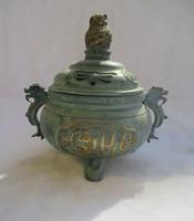 Old Bronze Gold gilt Intagliato Bruciatore di Incenso/Asiatici Antiquariato Vecchio Metallo Tibetano incensiere