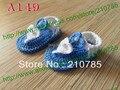 Bebé Sandalias de La Muchacha Del Ganchillo, zapatos de bebé de punto hechos a mano Azul y Blanco, para la Primavera y el Verano de 200 pares Envío Gratis