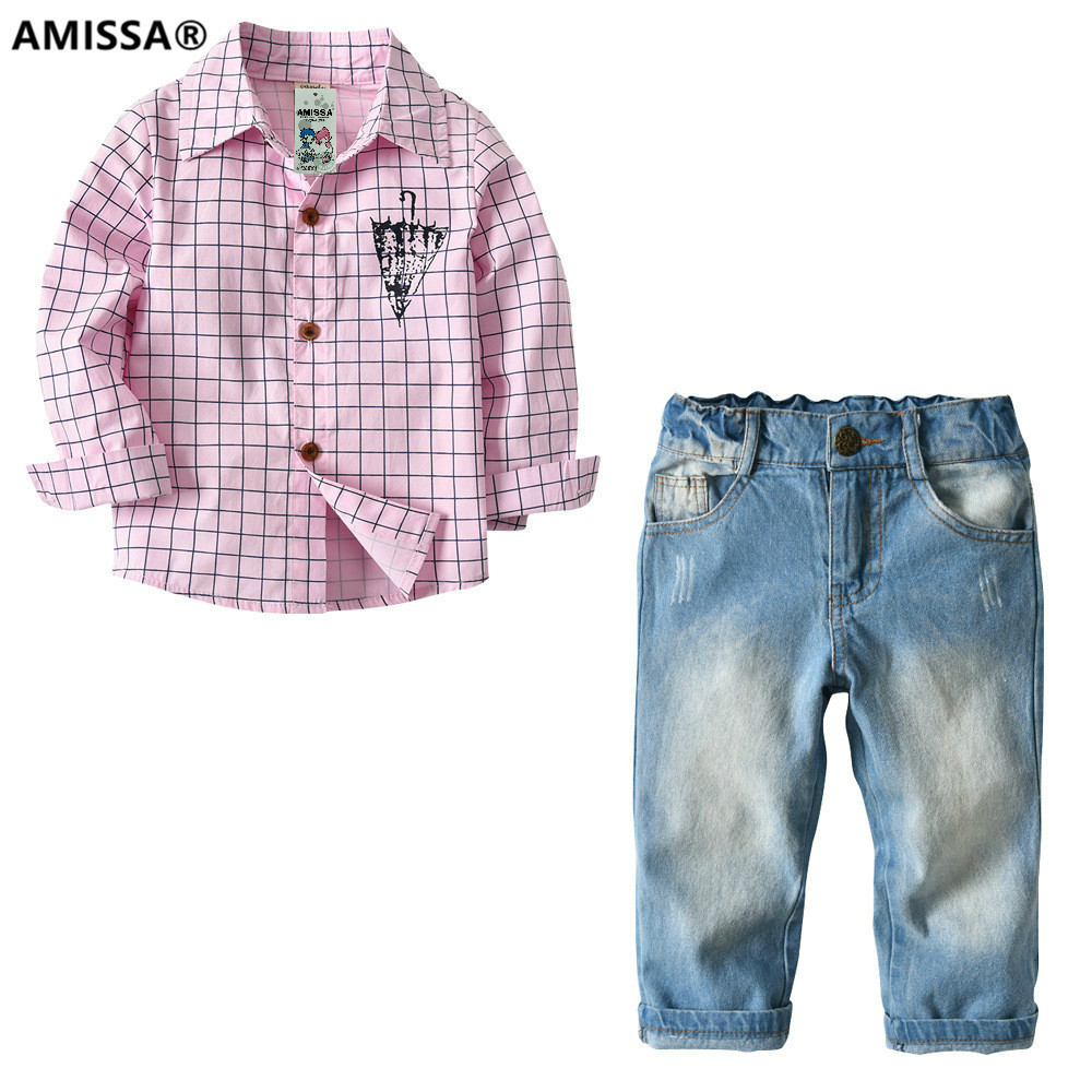 AMISSA 2T-7T Boys Plaid Shirt jeans suit children 2 two piece long sleeved autumn baby set clothes kids clothing pantsuit
