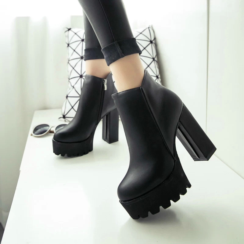 12cm Heels Boots 2016 New Winter Thick with High-heeled Shoes Round Toe Ankle Boots Waterproof Ultra-high Heel Shoes Side Zipper