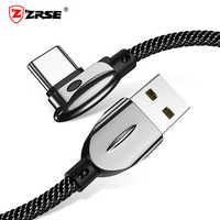 ZRSE Type C Cable For Samsung a50 3A Fast Charging 90 Degree Elbow Data Sync USB Cable For Huawei Xiaomi Redmi Charger Cord