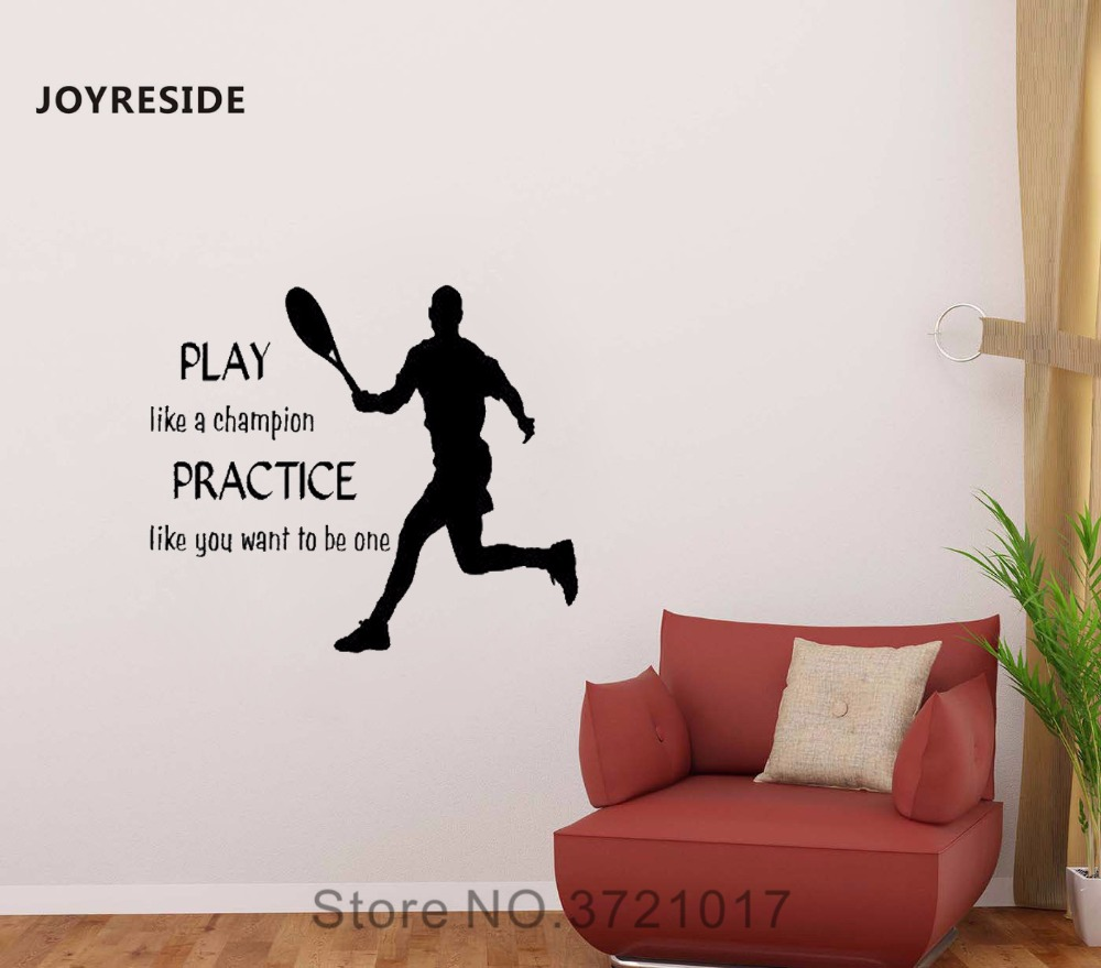 JOYRESIDE Play Like A Champion Wall Tennis Player Sport Decal Vinyl Sticker Quote Home Decor Living Room Bedroom Decoration A088