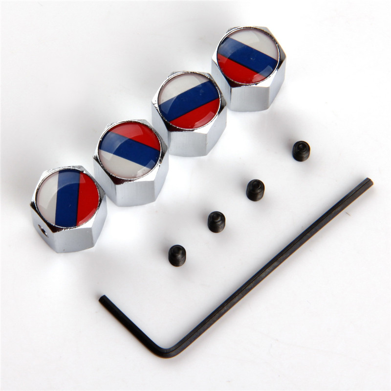 POSSBAY 10 Sets New Antitheft Stainless Silver Car Wheel Tire Valves Tyre Air Caps Cover Russia UK US Italy France German Flag
