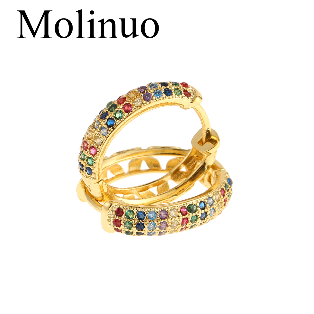 Molinuo latest gold color delicate fashion circle hoop earring gorgeous jewelry colorful cz multi pierced hoop earrings 2019 in Hoop Earrings from Jewelry Accessories