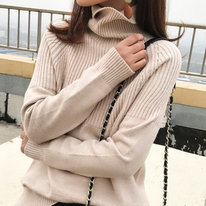 Image 5 - new sweater women turtleneck Loose sweaters pullover women striped knitted sweater cashmere sweater women winter clothes women