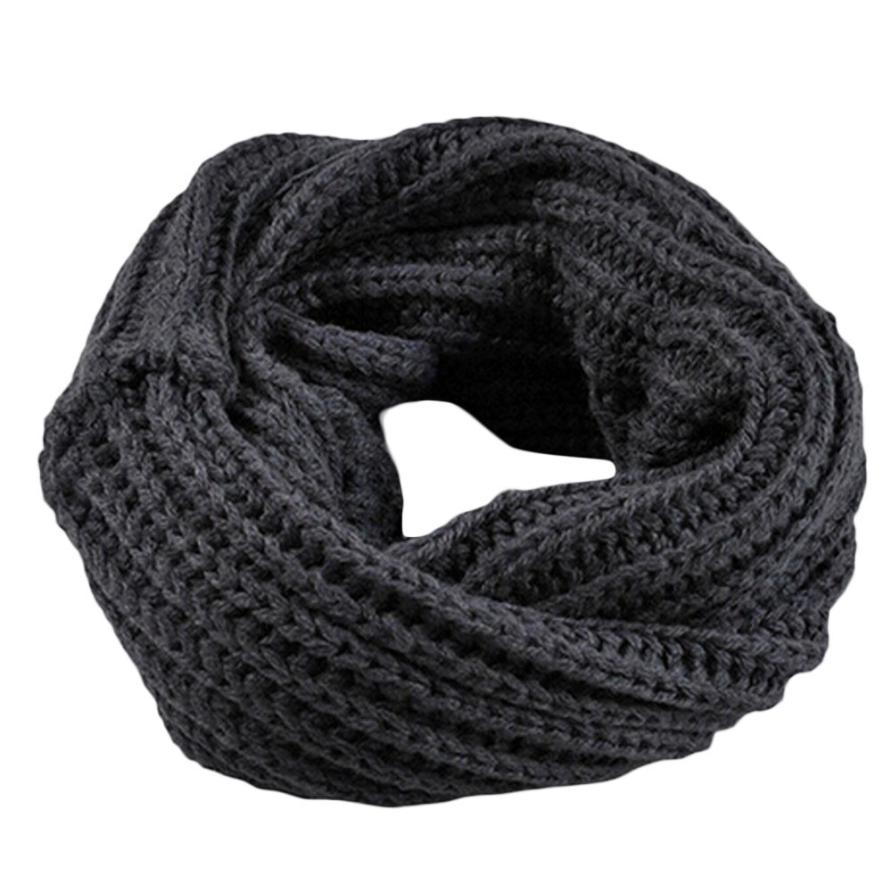 Осенне-зимний вязаный шерстяной шарф-шаль для мальчиков и девочек, теплый зимний шарф с воротником, Прямая поставка - Цвет: dark gray