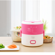 Electric Lunch Box stainless steel portable rice cooker Multi-steaming method Heated lunch box mini kitchen steam cooker Cooking electric lunch box three portable with rice insulation can be plugged rice cooker heating lunch box mini rice cooker