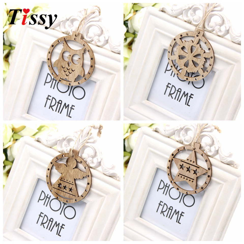 12PCS Cute Round Christmas Wooden Pendant Ornaments Xmas Tree ...