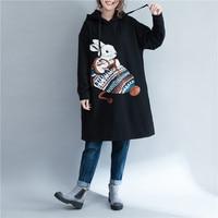 Harajuku Rabbit Print Black Ladies Hoodie Dress Sudaderas Mujer 2018 Autumn Winter Women Fleece Hooded Sweatshirt