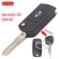 Keyecu Upgraded Flip Remote Car Key 2 Button 433MHz 4D63 Chip For Mazda 323 626 1999