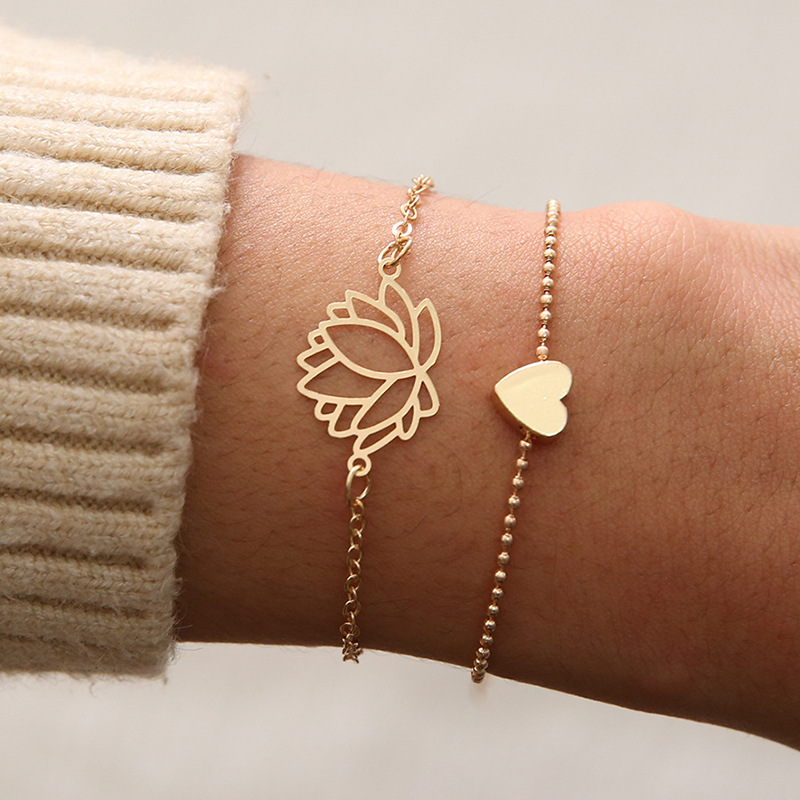 2pcs/Set Charm Romantic Bangles/Bracelet Set For Women Gold Metal Alloy flowers Heart Link Chain Twist Bangle Jewelry Kolye Gift