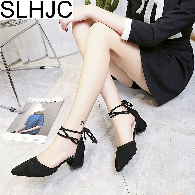 SLHJC 2018 Spring Pumps Summer Sandals Bandage Pointed Toe Med High-Heeled Shoes Shallow Mouth Pumps 6 CM Heel