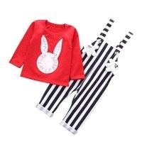 2017 Children Clothes Cotton Clothes 2PCS Rabbit Head Cartoon Print T Shirt And Black And White