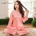 2016 Осенью Новый Женщин Сексуальный Пижамы набор Плюс размер L-XXXL Полный рукав выдалбливают Шею Ночной Ткань