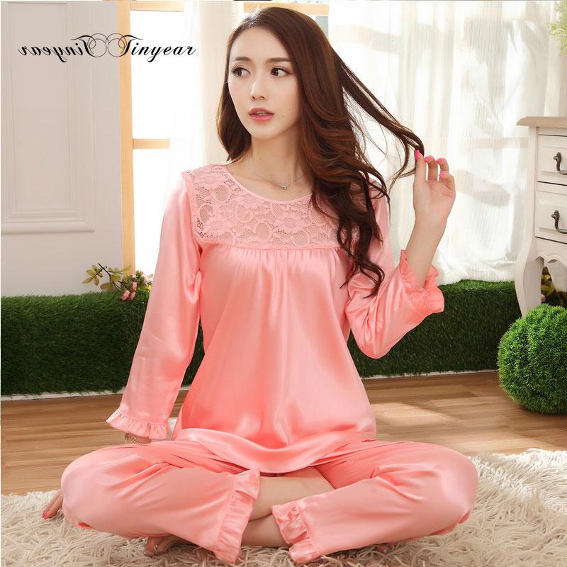 2016 Autumn New Women Sexy Pajamas set Plus size L-XXXL Full sleeve Hollow out Round Neck Night Cloth