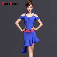 2016 Hot Sexy Latin Dance Dress For Women Royal Purple Rose Colors Stage Performance Vestidos Baile