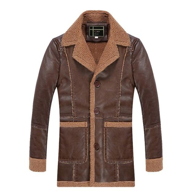 Bomber Mens Leather Jacket Fur Lined Vintage Designer Long Trench ...