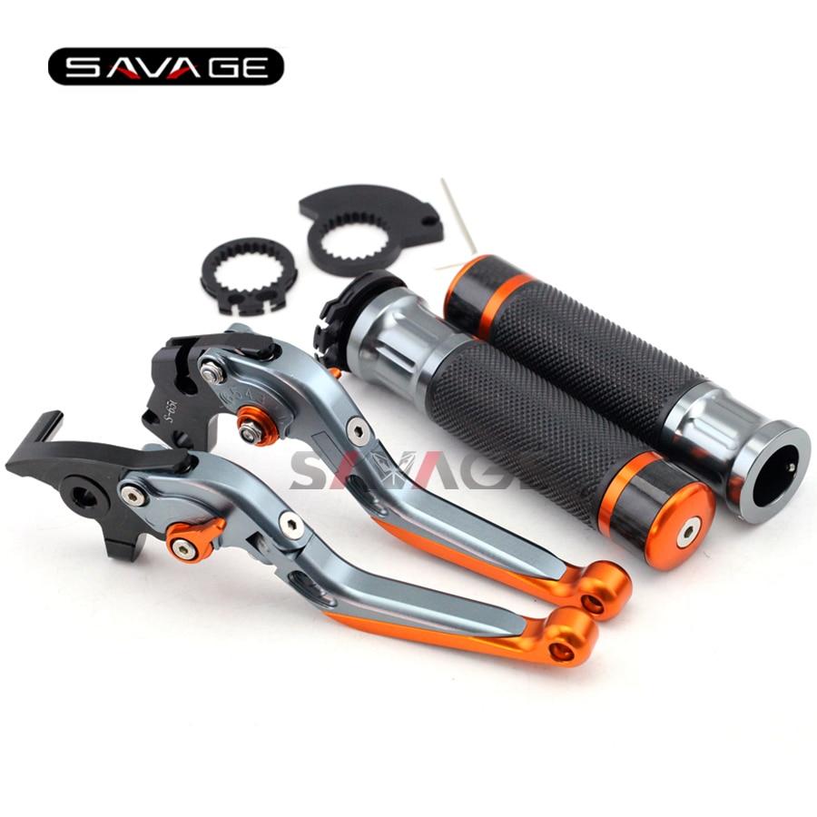 For KTM DUKE 125/200/390 2012 2013 2014 2015 Motorcycle Adjustable Folding Brake Clutch Levers Handlebar Hand Grips