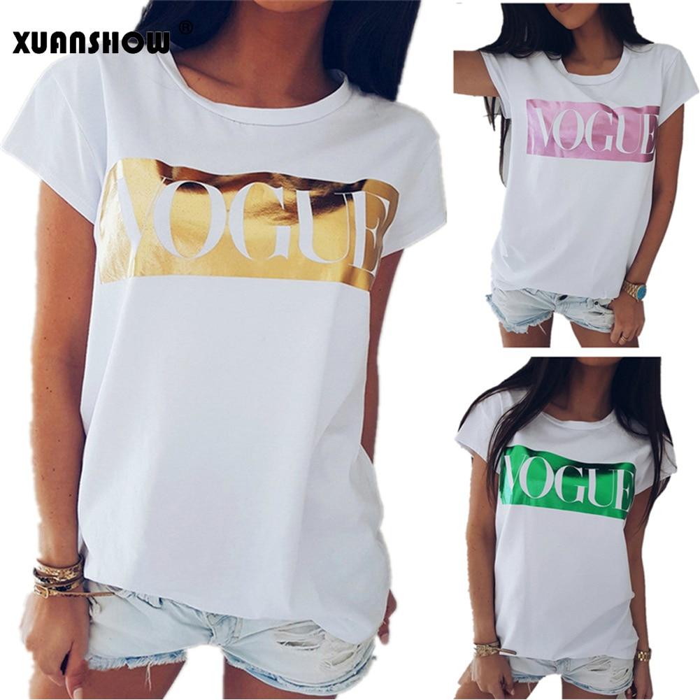 71e416379 XUANSHOW New Arrival 2019 Fashion Women's Summer T Shirts Short Sleeve O  Neck VOGUE Printed Tee Shirt Femme Casual Harajuku Tops