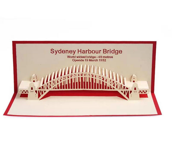 2014 new creative new year greeting card pure handmade 3d cards sydney harbor bridge business birthday