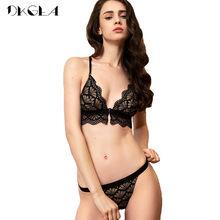 e2489cacf Preto Fechamento Frontal Bras Sexy Underwear Set Ultrafinos Bordado  Volta-line Y Cintas Conjuntos de Sutiã Calcinhas Das Mulhere.