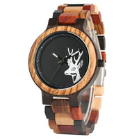 New Arrival High Quality Deer Head Display Wood Quartz Watch Comfotable Wooden Watchband Bracelet Bangle Clock Gifts for Men