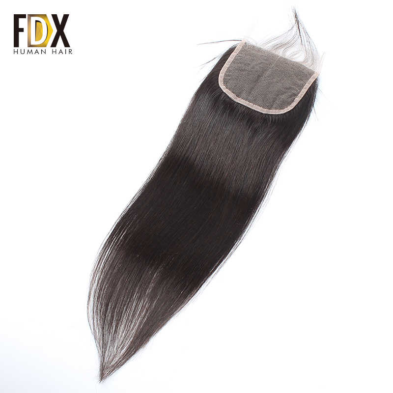 FDX Human Hair Brazilian Straight Hair 4x4 Lace Closure Free Part Natural Color 10-20 Inches Hair Extension Remy