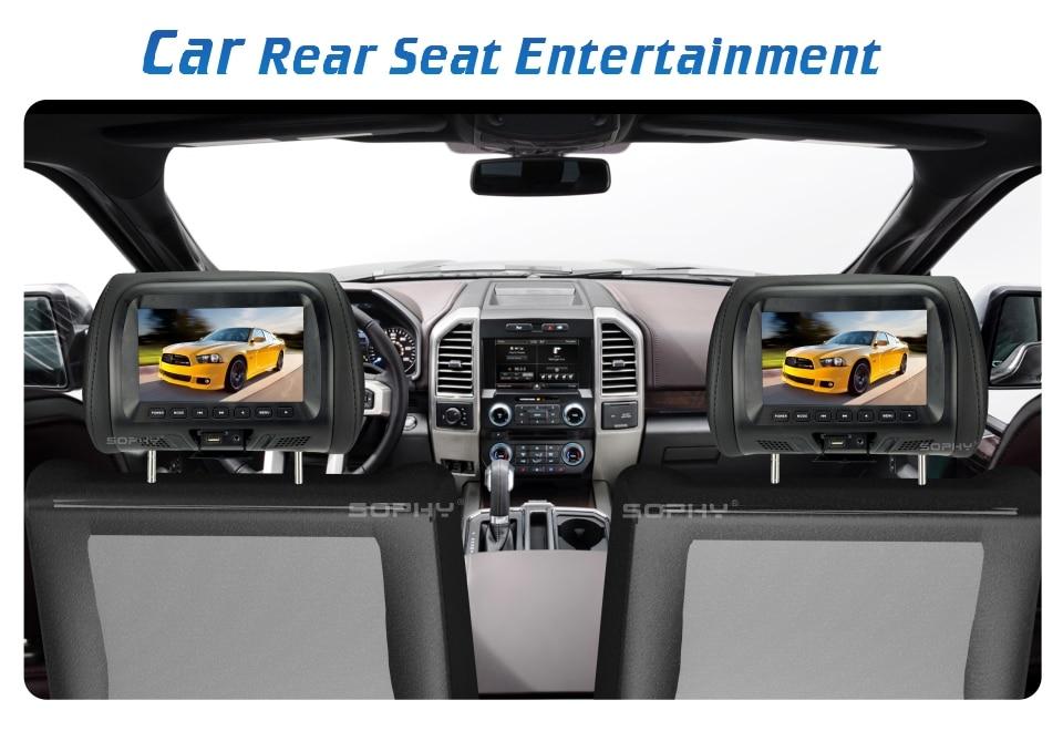 Универсальный 7 дюймов Автомобильный подголовник монитор заднего сиденья развлечения мультимедийный плеер общий AV USB SD MP4 7048