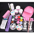 Nail Art Pink Hand Dryer Blower UV Gel Tips Acrylic Powder Liquid Tool Kit Set Gel Nails Set Manicure Set 34222
