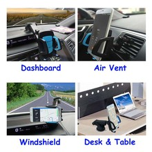 2-in-1 Long Neck/Arm Mobile Phone Car Mount, Holder, Secure Phone/GPS to Windshield or Air Vent, Padded, Adjustable Grips