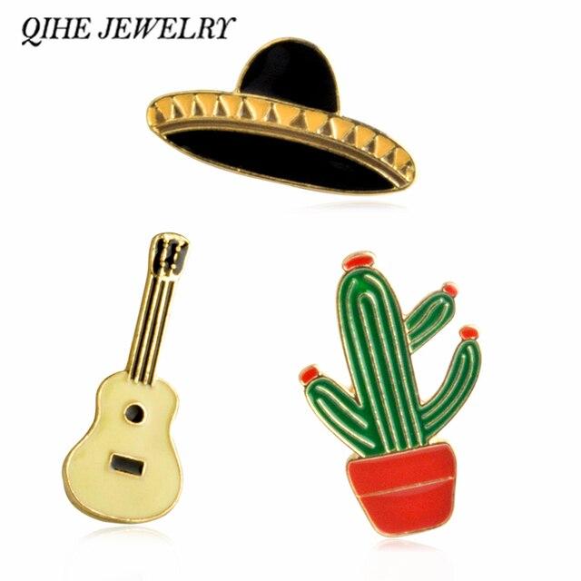 QIHE JEWELRY Hat Guitar Mexican Cactus Enamel Pin Badge Metal Girls Jeans Bag De