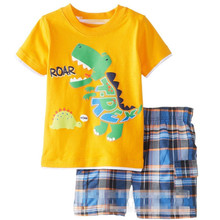 2019 NEW Homewear Pajamas Cartoon Cotton Dinosaur Animal Childrens Sets Boys T-shirts Shorts Kids Clothing Summer