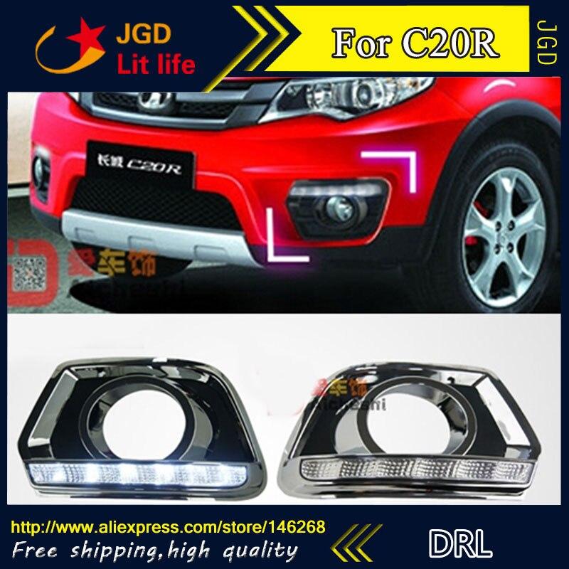 цена на Free shipping ! 12V 6000k LED DRL Daytime running light for Great Wall C20R 2011-2013 fog lamp frame Fog light Car styling