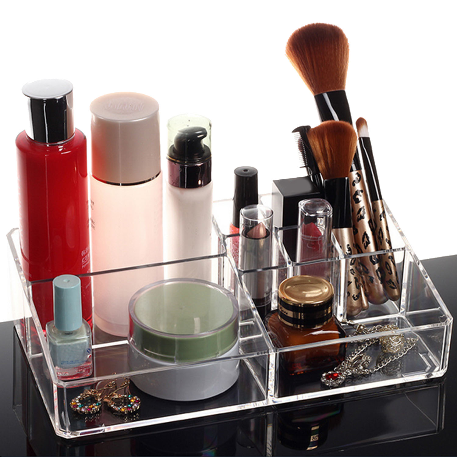 NC Clear Cosmetic Makeup Storage Display Organizer Box Lipstick Holder Stand Make up Brush Kit Nail Polish Case Container