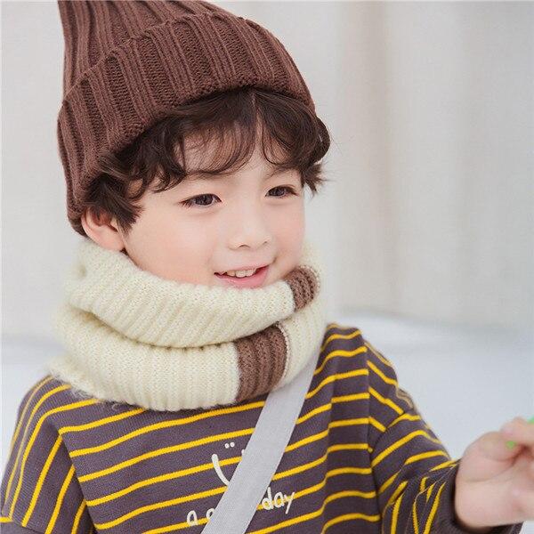 VISROVER/вязаный шарф для девочек и мальчиков, детское кольцо с полосками, безграничный снуд, Детские кашемировые шарфы, Круглый теплый шарф на шею - Цвет: 3