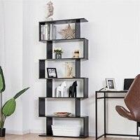 6 Tier S Shaped Bookcase Z Shelf Style Storage Bookshelf High quality Particle Board Modern Style Storage Shelves HW59445