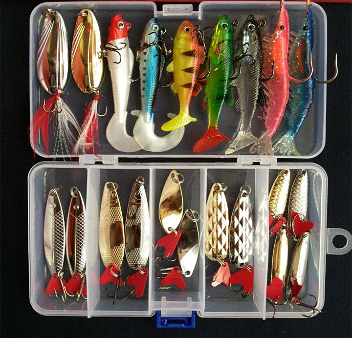 2017 Hot Suits! Soft Fish Shrimp Spoon Metal VIB Lure Soft Bait Sequins Kit Artificial Bait Mixed Colors/Style Fishing Lures fishing lure kit single tail lead fish soft bait vib 33 pieces lures accessories pliers