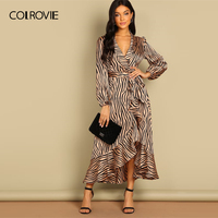 COLROVIE Shawl Collar V Neck Surplice Wrap Belted Zebra Party Dress Women 2019 Ruffle Long Dress Elegant Office Ladies Dresses